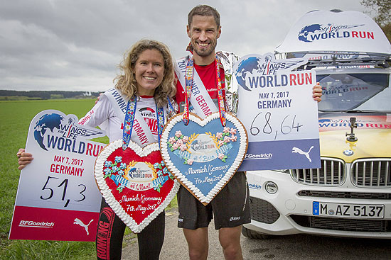 Sebastian Hallmann and Bianca Meyer gewannen den Life World Run am 07.05.2017 in München ©Foto:  Flo Hagena for Wings for Life World Run