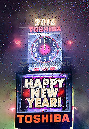 New York 2016 Countdown auf Toshiba Visoon Screens bei den New Year's Eve celebrations am Times Square 31.12.2015 in New York City (Photo by Eugene Gologursky/Getty Images for TOSHIBA CORPORATION)