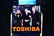 (from left) Allison Hagendorf, Chairman and CEO of Toshiba America, Inc Fumio Otani and Bill Nye on stage during New Year's Eve celebrations at Times Square on December 31, 2015 in New York City. (Photo by Eugene Gologursky/Getty Images for TOSHIBA CORPORATION)